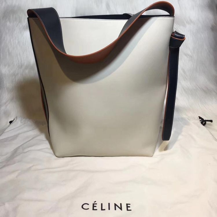 celine 賽琳水桶子母包全皮灰色拼米白手提包圖片