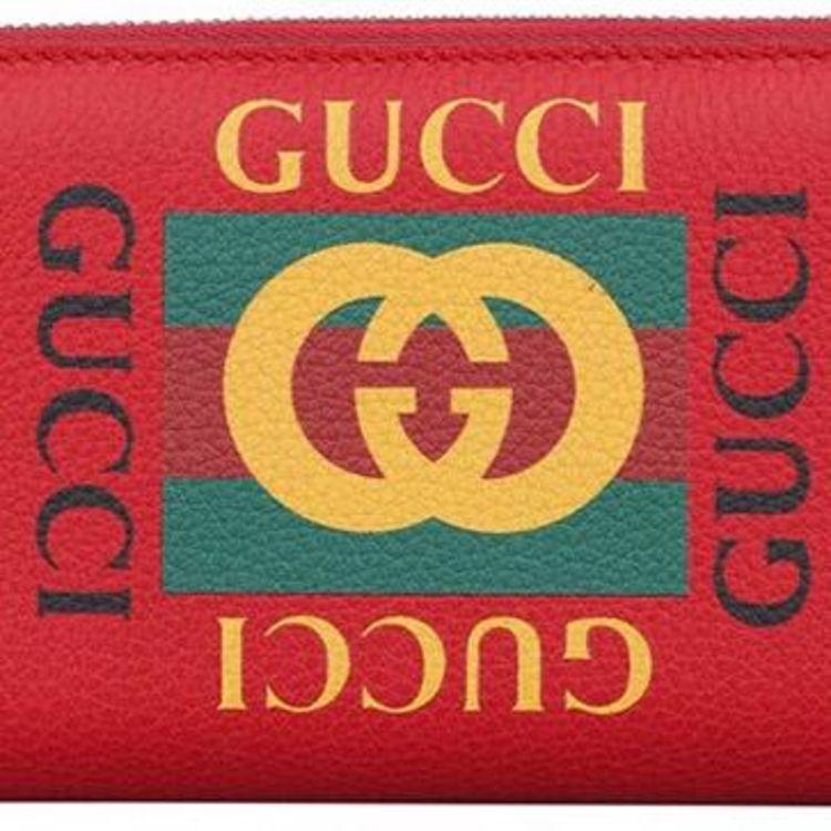 gucci 古馳紅色皮質logo女士錢包圖片