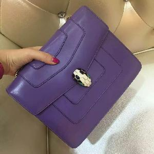 BVLGARI宝格丽蛇头中号紫色单肩包