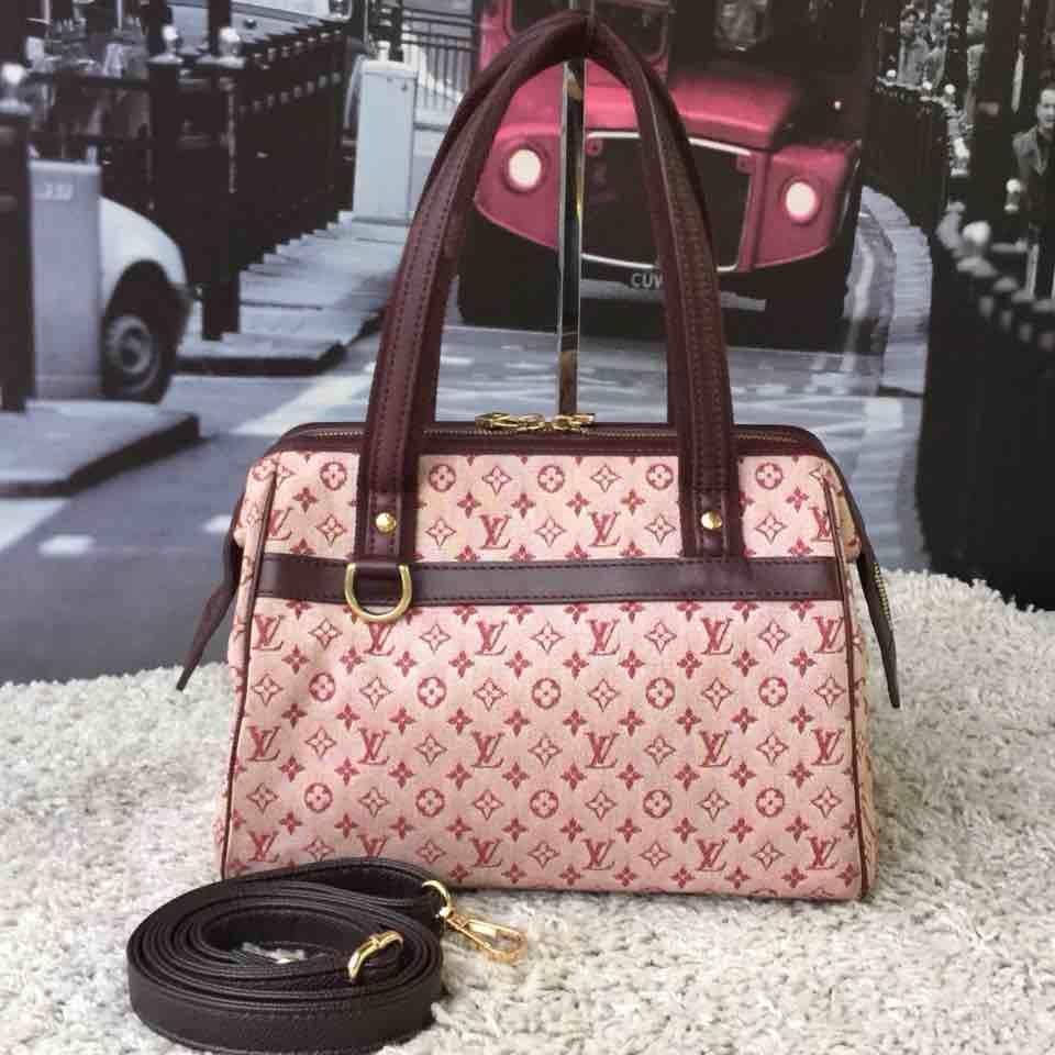 LV路易·威登时尚粉色老花手提包