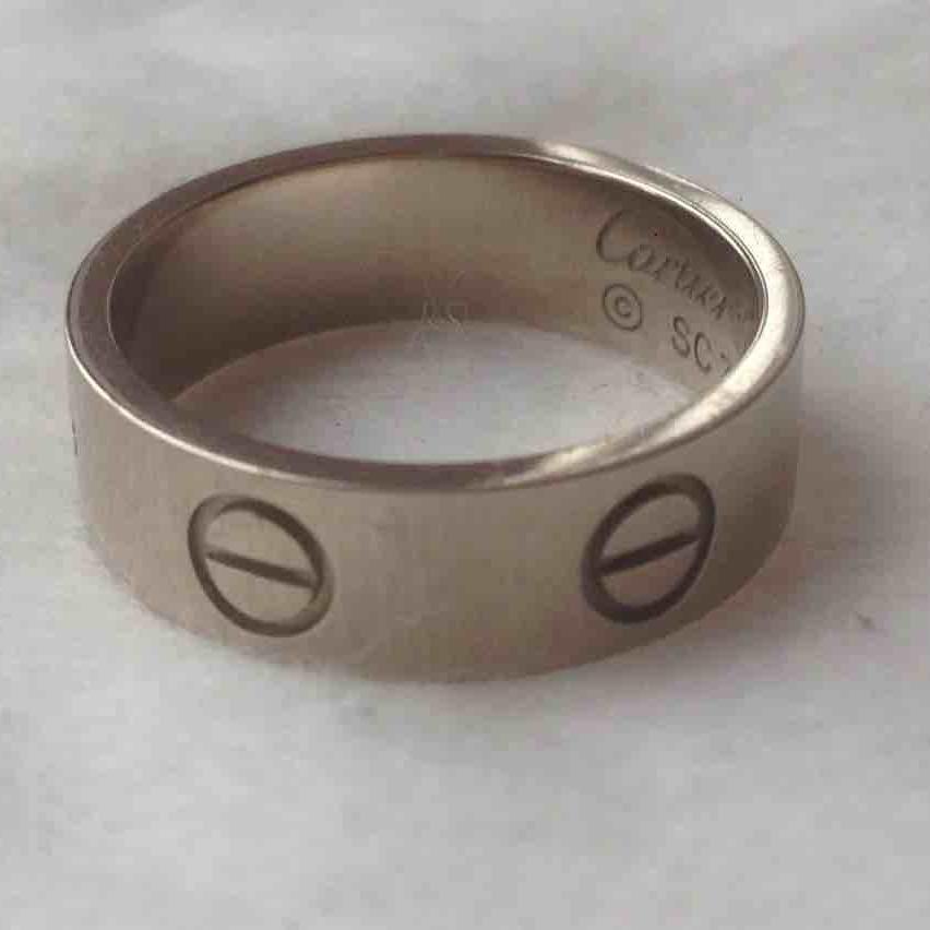 Cartier卡地亚51号宽版白金戒指