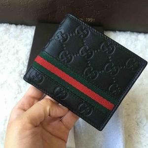 GUCCI古驰黑色压花红绿条短款钱包