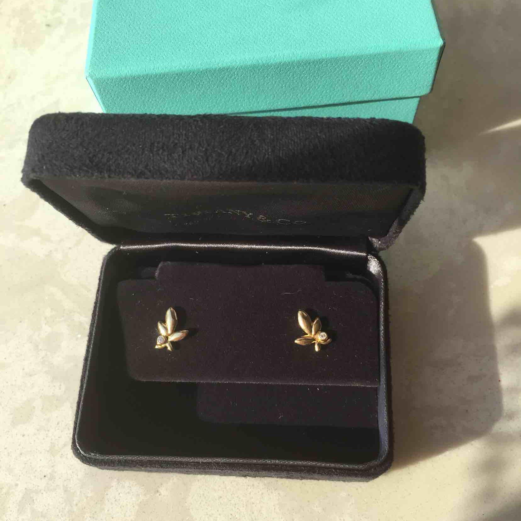 Tiffany蒂芙尼18k黄金镶钻耳钉