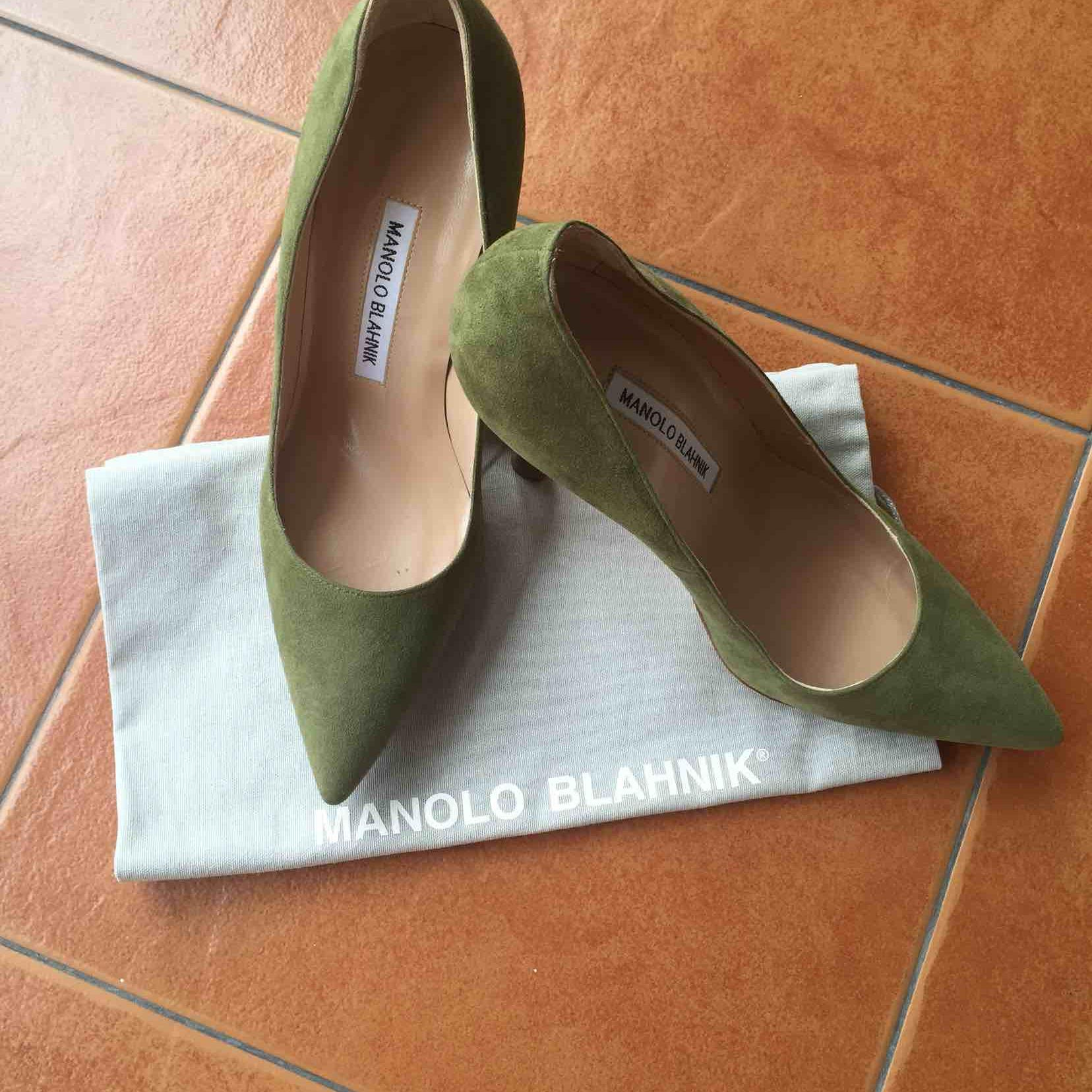 Manolo Blahnik绿色麂皮高跟鞋