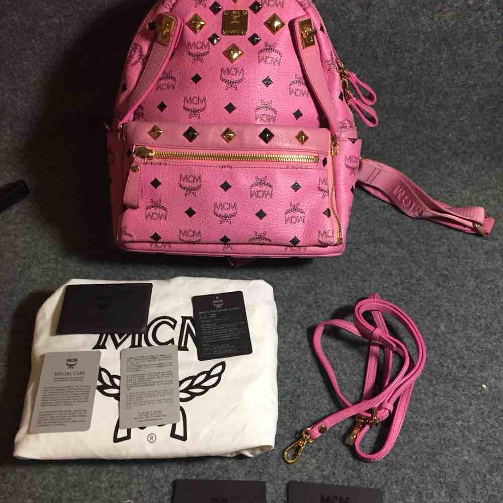 MCM小号粉色双肩包