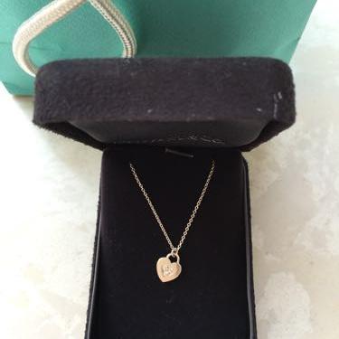 Tiffany蒂芙尼18k白金镶钻心锁项链
