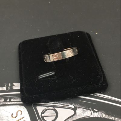 Cartier卡地亚白金窄版时尚戒指