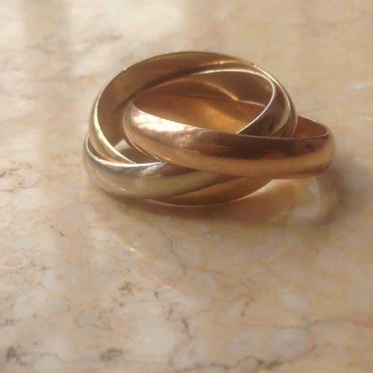 Cartier卡地亚56号三环三色金超宽版戒指