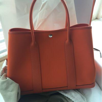 Hermes爱马仕橘色手提包
