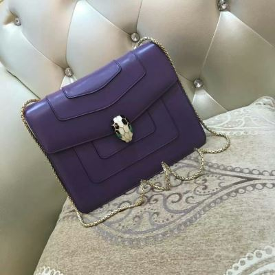 BVLGARI宝格丽中号紫色蛇头包