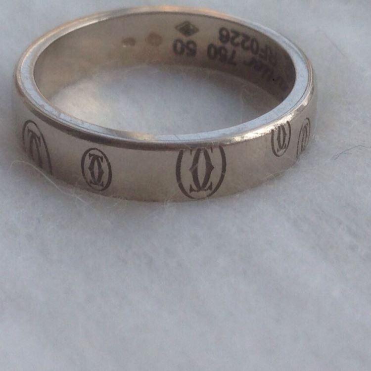Cartier卡地亚白金50号戒指