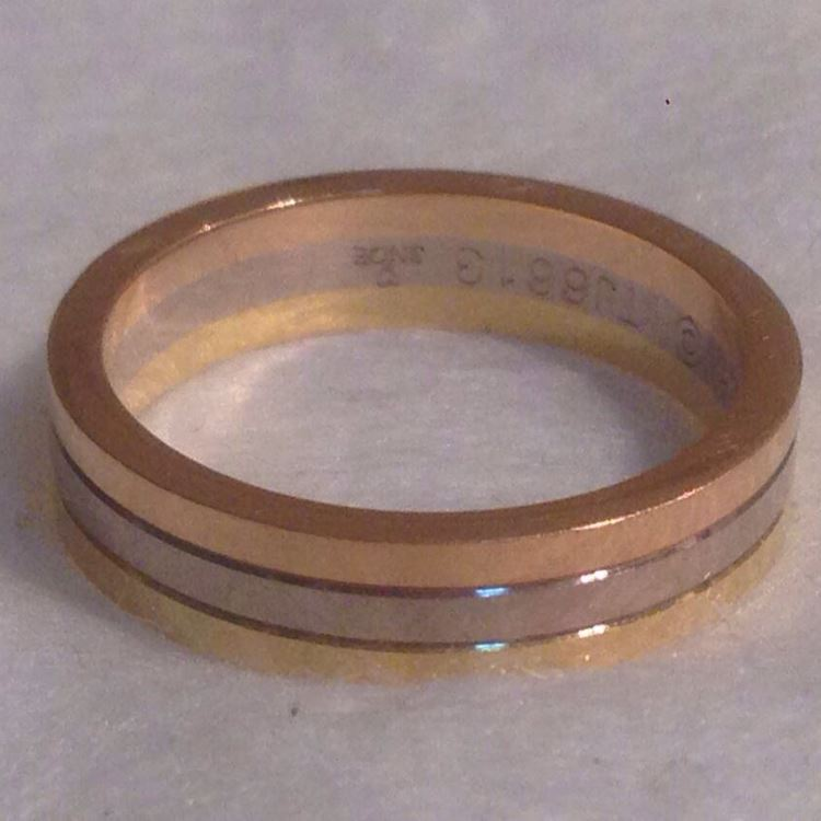 Cartier卡地亚56号宽版三色金戒指