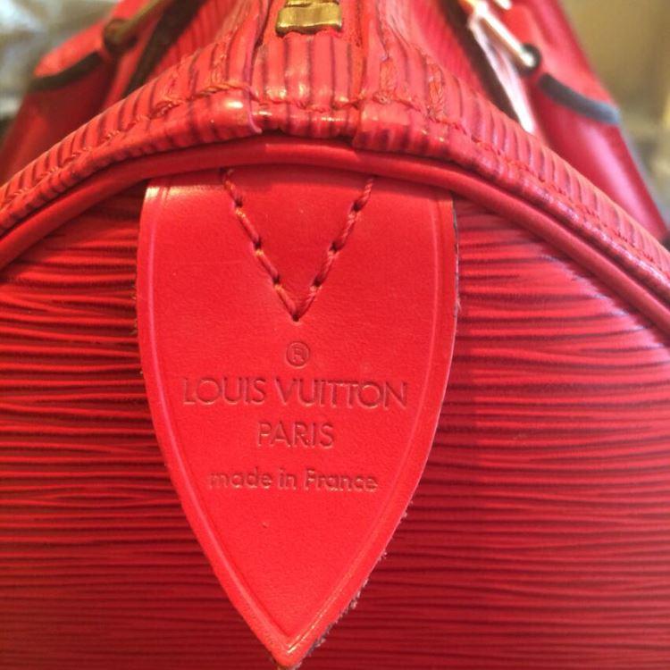 LV路易·威登水波纹红色手提包