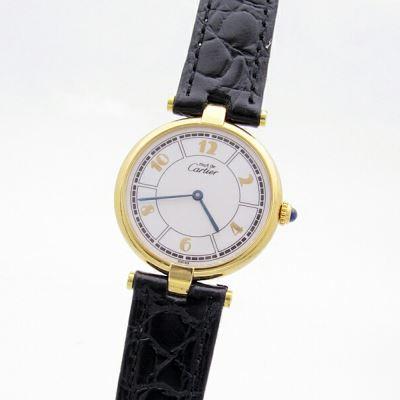 Cartier卡地亚925银大盘石英女士腕表