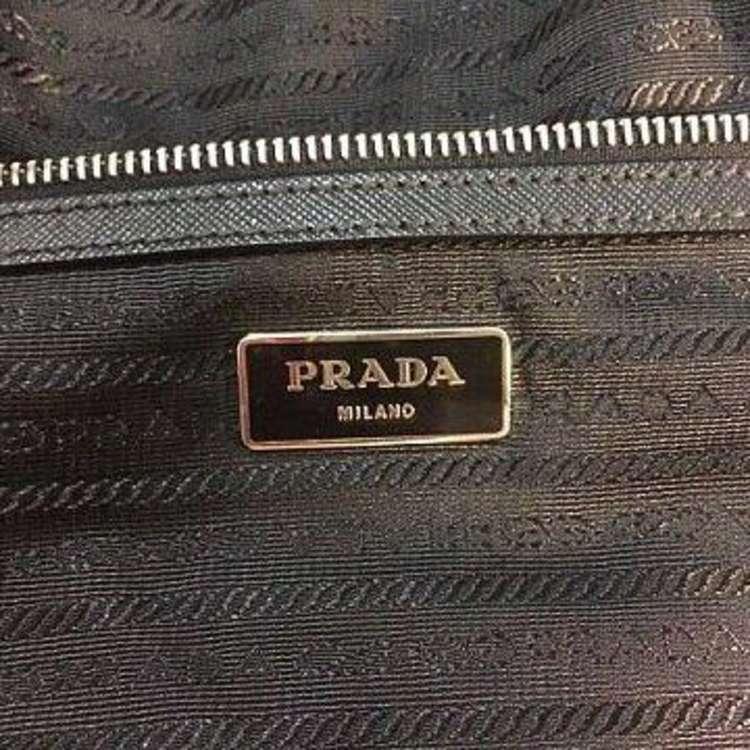 PRADA普拉达深绿色降落伞布拼十字纹牛皮手提包