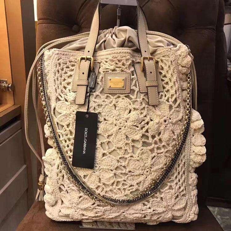 DG杜嘉班纳限量款针织镂空购物袋