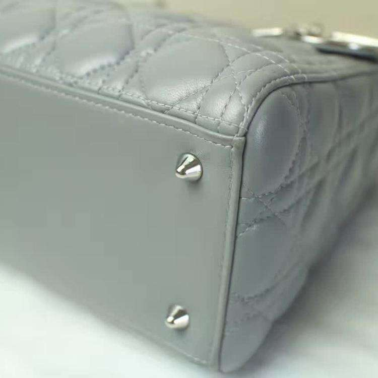 Dior迪奥气质灰羊皮银扣5格单肩包
