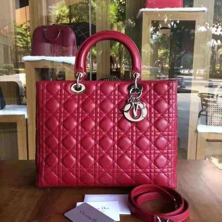 Dior迪奥中国红7格羊皮单肩包