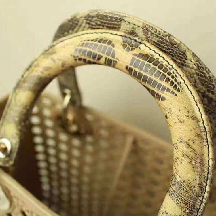 Dior迪奥蜥蜴皮限量编织镂空单肩包
