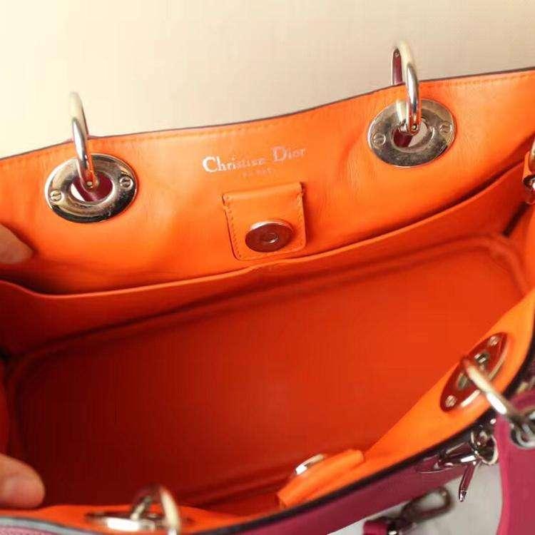 Dior迪奥玫红拼橙diorissmo小号单肩包