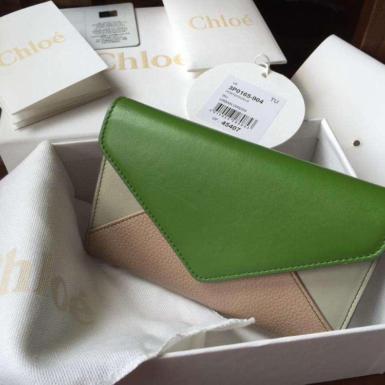 Chloé蔻依三色两种皮面撞色钱包