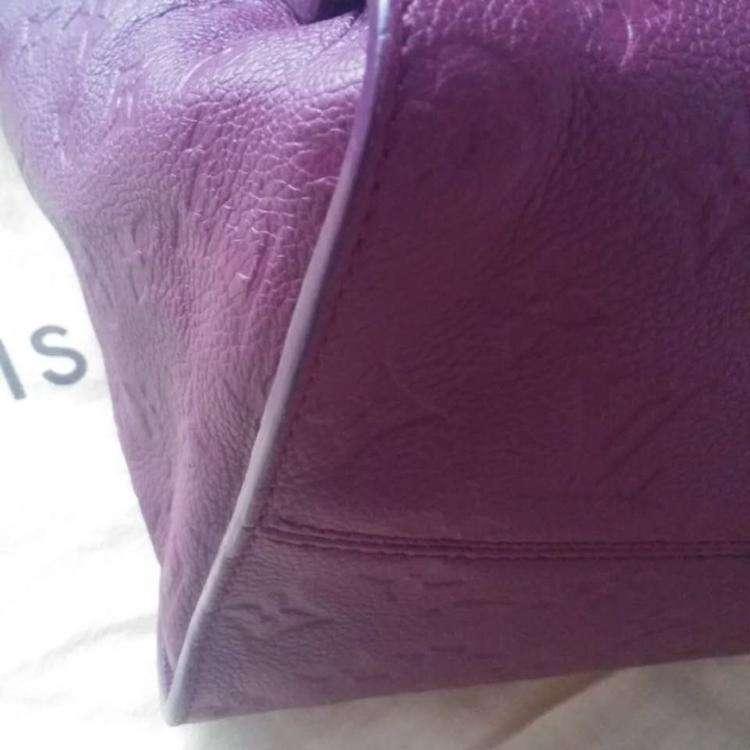 LV路易·威登全皮印花酒红手提包