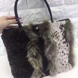 Dior迪奥狐狸毛拼兔毛手提包