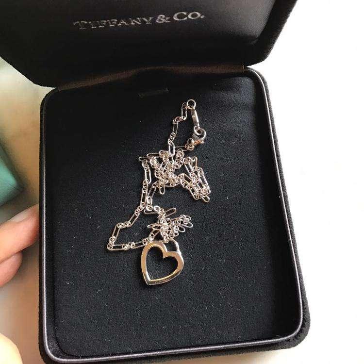 Tiffany & Co.蒂芙尼18k白金镂空爱心项链