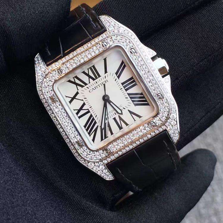 Cartier卡地亚桑托斯系列中号后加钻腕表