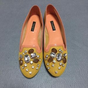 DOLCE&GABBANA 杜嘉班纳黄色镶嵌平底鞋