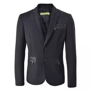 范思哲男士经典黑色金属装饰西装上衣