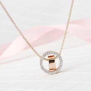 金新施华洛世奇新款玫瑰金色双环项链