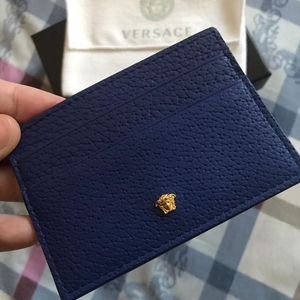 Versace 范思哲蓝色牛皮多卡位卡夹名片夹