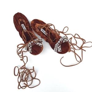 Miu Miu 缪缪棕色水晶蝴蝶结系带芭蕾舞鞋37码