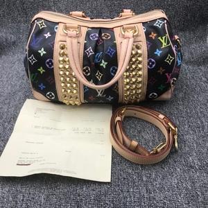 Louis Vuitton 路易·威登黑三彩铆钉款单肩包