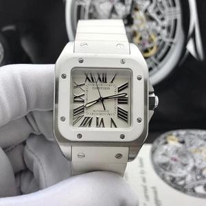 Cartier 卡地亚桑托斯中号白陶瓷精钢腕表