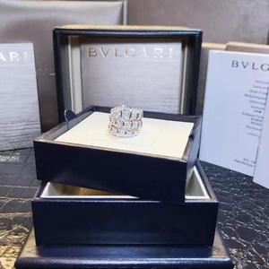 BVLGARI 宝格丽18k白金三环蛇形戒指