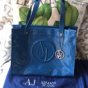 ARMANI 阿玛尼蓝色手提包