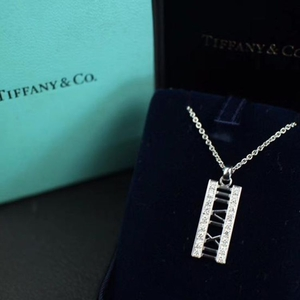 Tiffany & Co. 蒂芙尼罗马数字18k白金双排钻吊坠项链