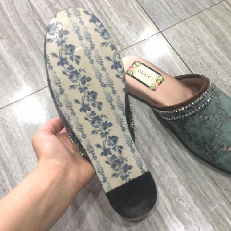GUCCI 古驰丝绒拖鞋