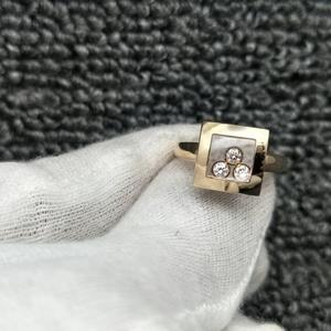 Chopard 萧邦18k玫瑰金3钻女士戒指尺寸10号