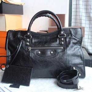Balenciaga 巴黎世家经典黑色银扣手提单肩机车包