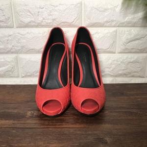 Bottega Veneta 葆蝶家桃红色小羊皮编织高跟鱼嘴凉鞋