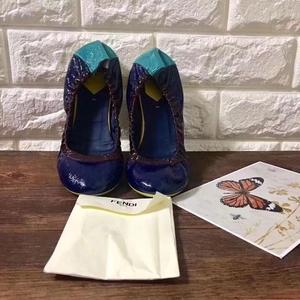 Miu Miu 缪缪藏蓝色拼天蓝黄跟平底鞋