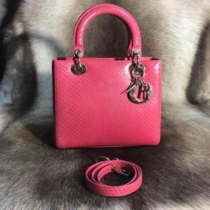 Dior 迪奥粉色蟒蛇皮五格戴妃手提包