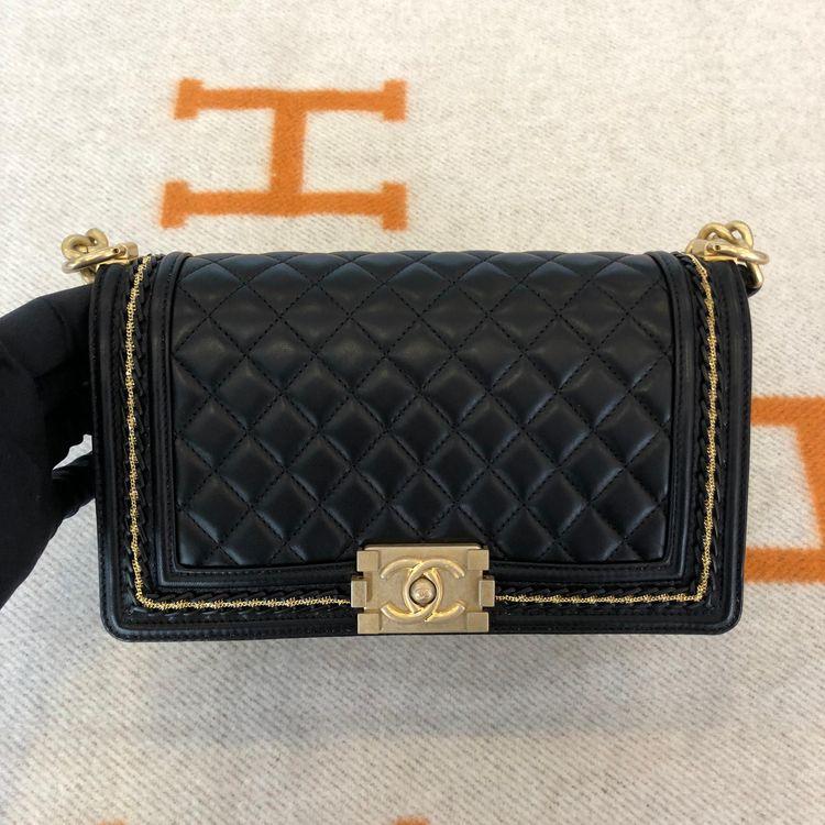 sale retailer 78dbc 8b9c6 CHANEL 香奈儿限定版黑金Boy 中号单肩包-心上共享平台