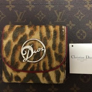 Dior 迪奥豹纹马毛拼皮双面钱包