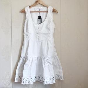 PRADA 普拉达女士白色牛仔连衣裙 46码
