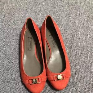 Versace 范思哲全皮橙色平跟鞋