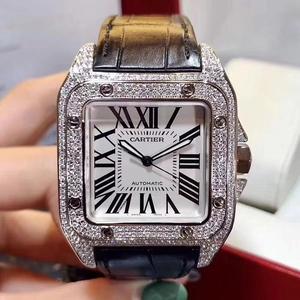 Cartier 卡地亚桑托斯系列后镶钻石大号山度士机械男表